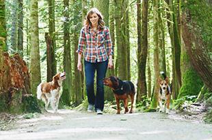 Darcie walking dogs on trail